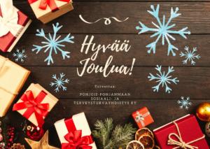 """tumma lautatausta, ympärillä paketteja ja joulukoristeita, keskellä teksti """"hyvää joulua! Toivottaa, PPsotu"""", ympärillä lumihiutaleita"""