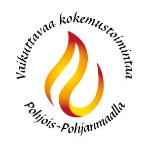 Pyöreä logo, jossa liekki sisällä ja ulkopuolella ympyrän muodossa teksti Vaikuttavaa kokemustoimintaa Pohjois-Pohjanmaalla.