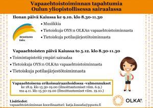Mainos, jossa kerrotaan, että Ilonan päivä Kaiussa 9.10. klo 8.30.-11.30 ja Vapaaehtoisten päivä Kaiussa 5.12. 8.30-11.30. Valmennukset 18.9. ja 4.11. Lisätietoa katja.kuusela@ppsotu.fi