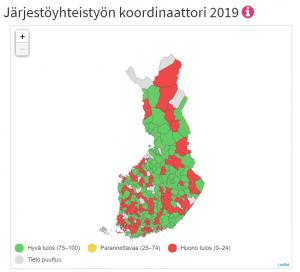 Kuntien järjestöyhteistyön koordinaattorit kartalla 2019