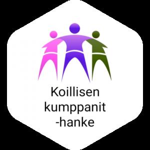 Kuvassa näkyy hankkeen logo, jossa kolme ihmishahmoa tukevat toisiaan. Vasemman hahmon väri on pinkki, keskimmäisen lila ja oikean vihreä. Alhaalla lukee mustin kirjaimin Koillisen kumppanit -hanke