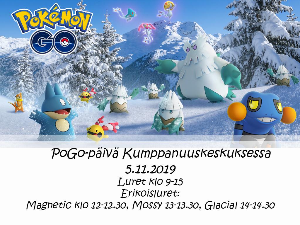 Pokemon go -logolla varustettu talvinen kuva muutamasta taskuhirviöstä ja tapahtuman lureaikataulut