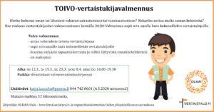 Toivo-vertaistukijavalmennuksen mainos, jossa kerrotaan muun muassa, että valmennuksesta saa lisätietoa katja.kuusela@ppsotu.fi