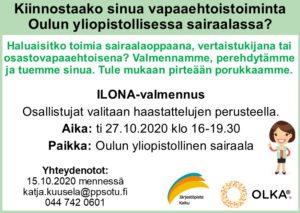 Valmennusmainos vapaaehtoistoiminnasta kiinnostuneille. Lisätietoa katja.kuusela@ppsotu.fi. Seuraava valmennus 27.10.2020