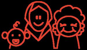 Kolmet hymyilevät kasvot, aikuinen ja kaksi lasta, piirroskuva.