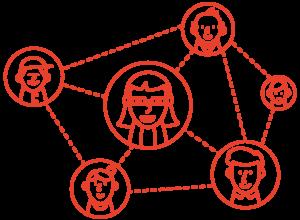 Kuuden kokemustoimijan muodostama verkosto, piirroskuva.