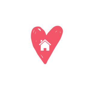 kuvake punainen sydän valkoisella taustalla keskellä valkoinen talo