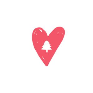 kuvake punainen sydän valkoinen tausta keskellä valkoinen kuusi