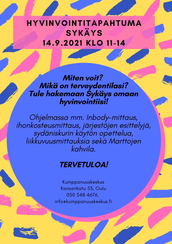 Olemme mukana Hyvinvointitapahtuma Sykäyksessä tiistaina 14.9. klo 11-14